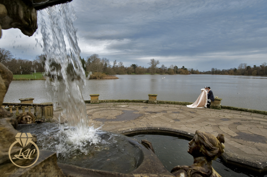 Hever Castle, lake, winter wedding, robe, romantic