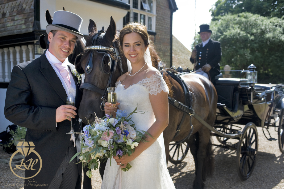 Bride & Groom with champagne & horses, top hat, horse carriage