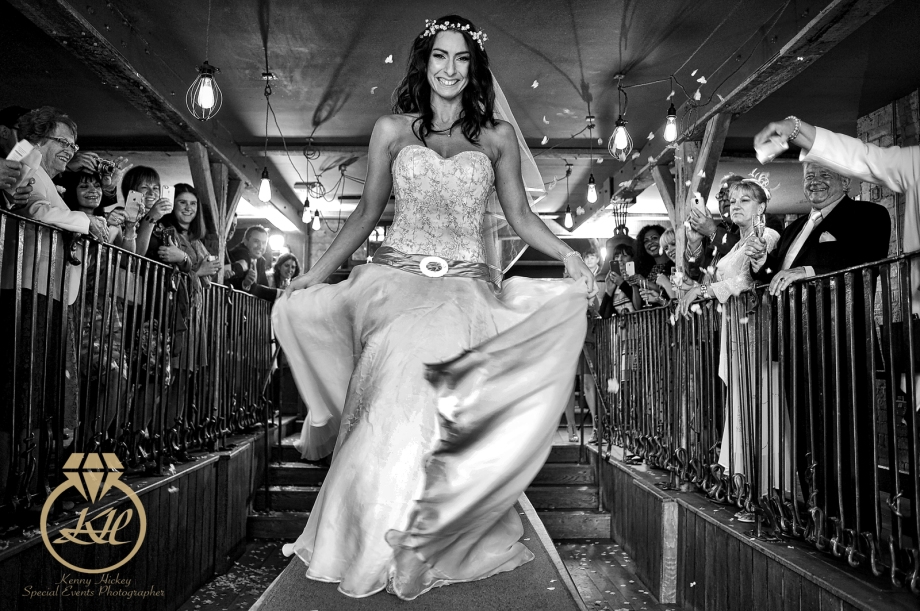 Angela & Paul wedding at The Bell Inn, Ticehurst, catwalk, wedding dress, black & white