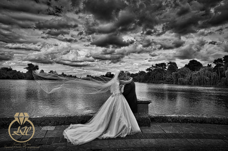 Lucy & Richard, wedding Hever Castle black & White blowing veil