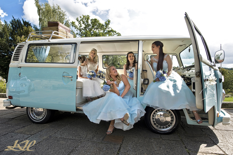 Wedding Salomon's Estate, Blue Camper Van & Bridal Party, Bride & bridesmaids Blue Camper Van, Kenny Hickey Photography, Kent Wedding Photographer