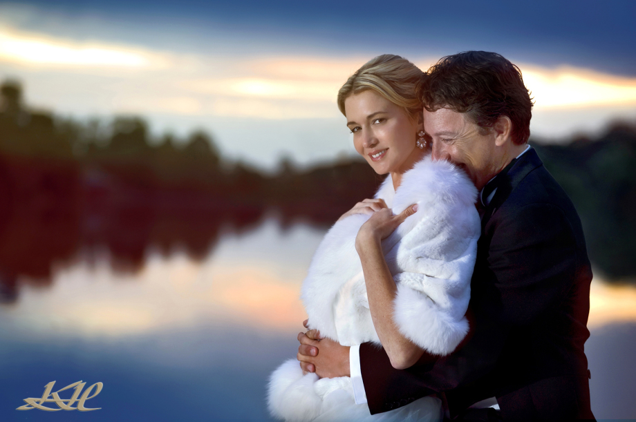 Hever Castle wedding, Bride & Groom by Hever Castle lake at sunset, Kenny Hickey Photography, Hever Castle photographer