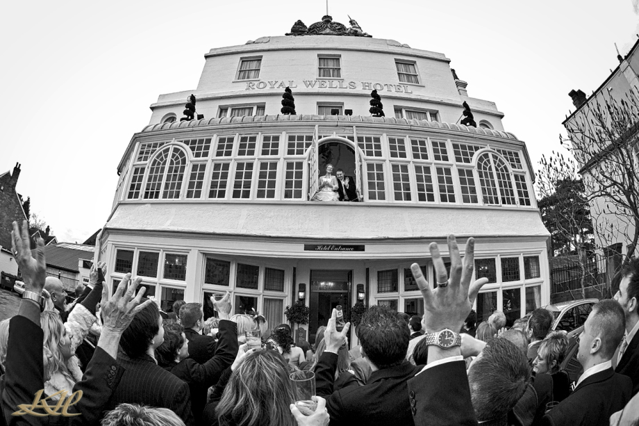 Wedding The Royal Wells Tunbridge Wells, Guests waving