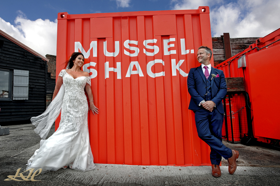 Bride & Groom Mussel Shack Whitstable, Kenny Hickey Photography