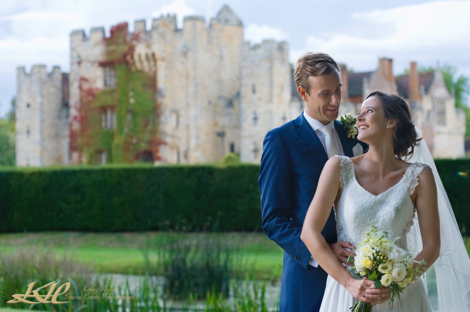 Attractive Bride & Groom at never castle, smiling, Kenny Hickey Photography, Kent Wedding Photographer