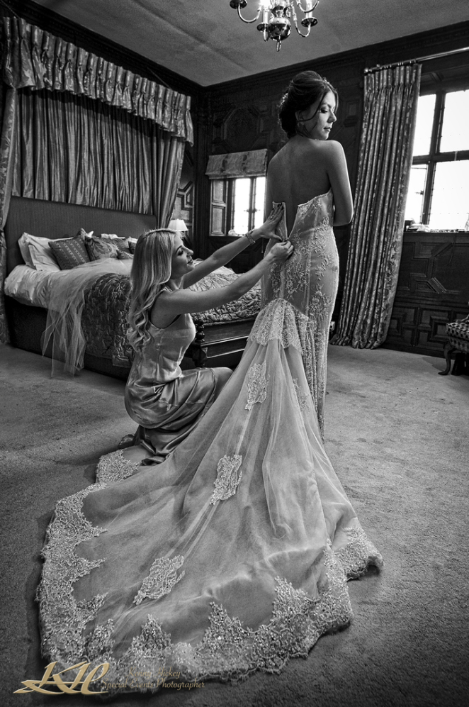Columbian Bride getting ready at Hever Castle, black & white