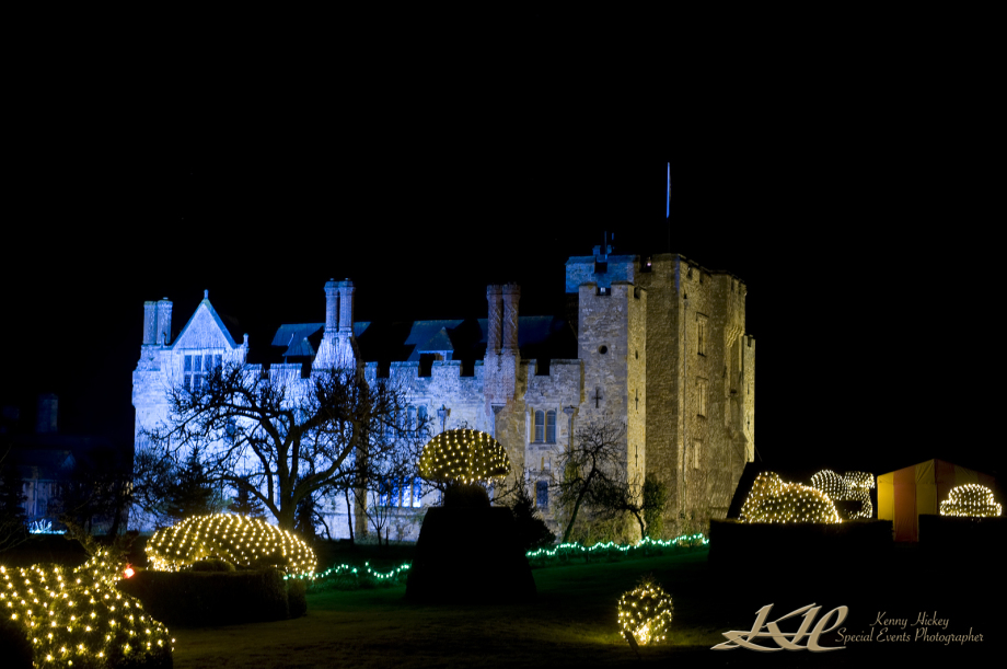 Night photo of Hever Castle at Christmas time