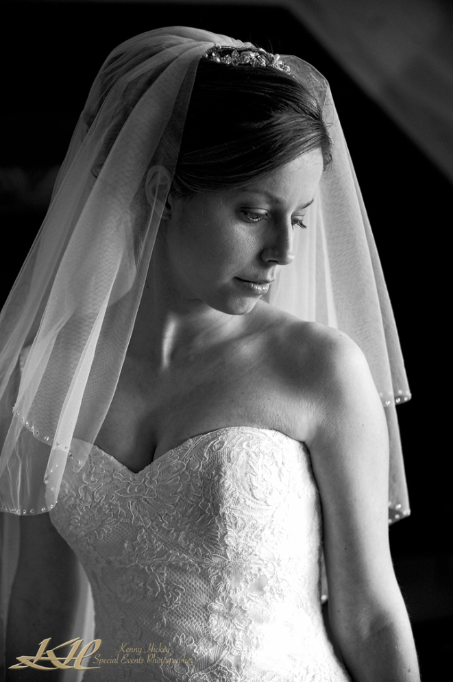 beautiful bridal portrait in black & white