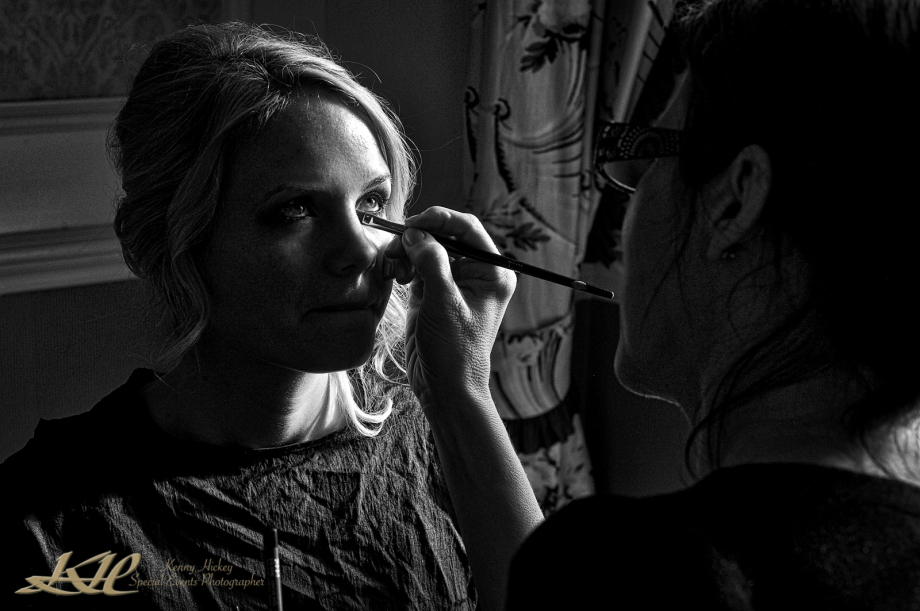 Bride having make-up done inflow key light at Hever Castle