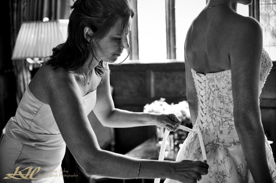 black & white having wedding dress tied up at back