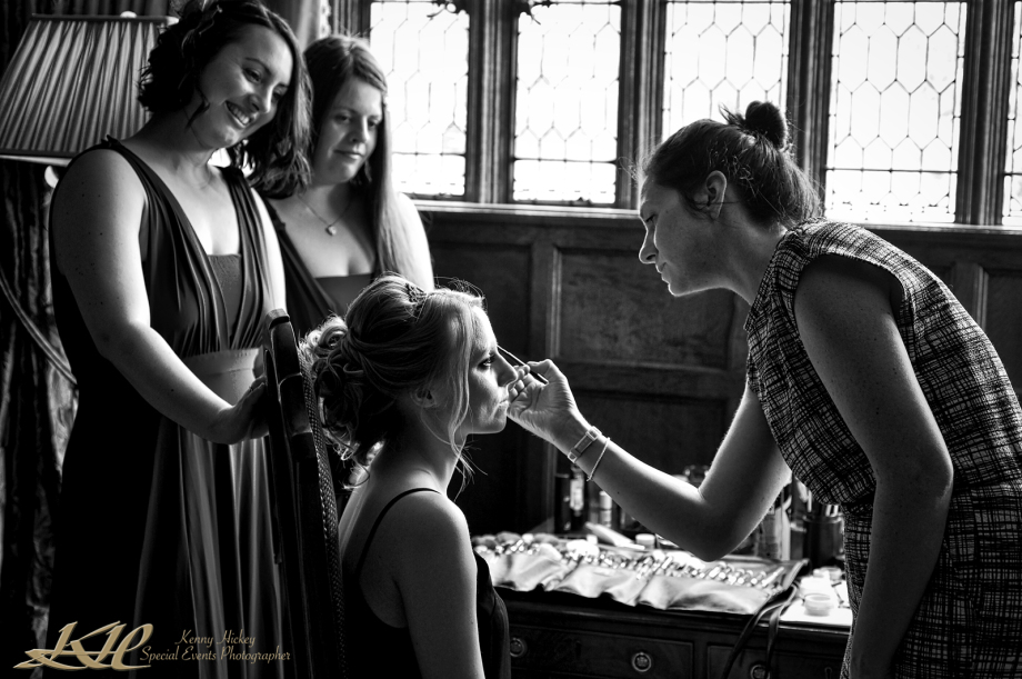 bride & bridesmaid reportage having make-up done at Hever Castle
