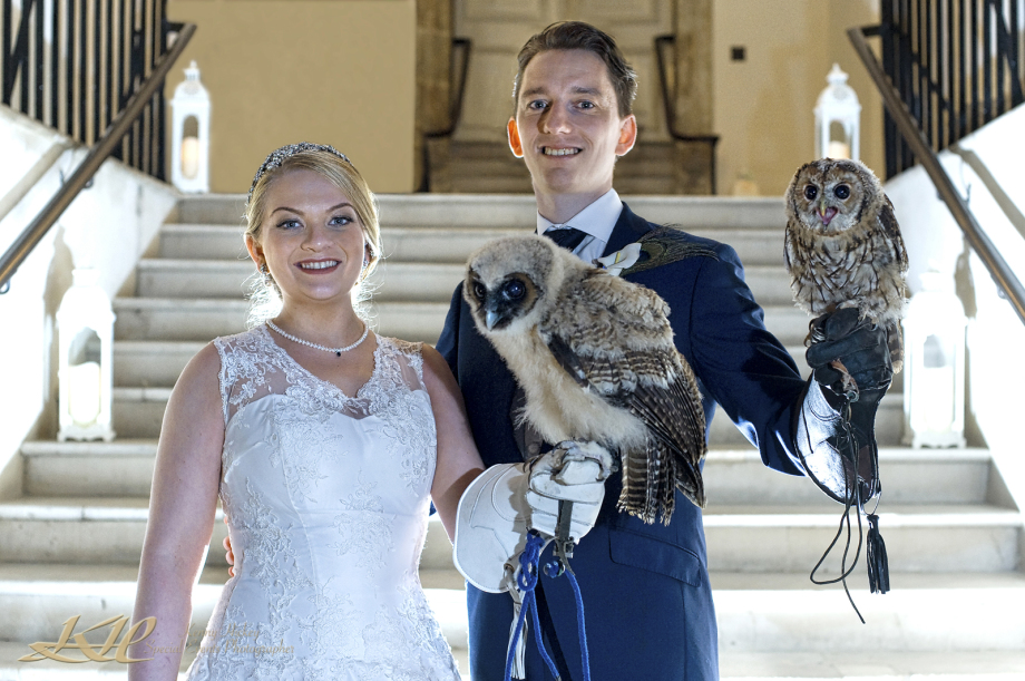 Bride & Groom both with Barn Owls on their wrist
