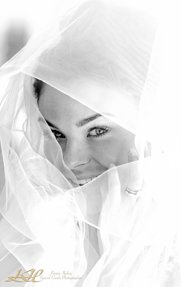 high key lit shot of beautiful bride peeking through veil in black & white
