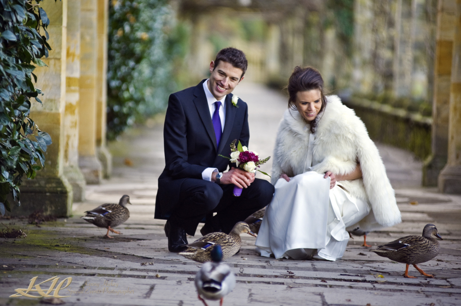 Happy Bride & Groom with Ducks at Hever Castle