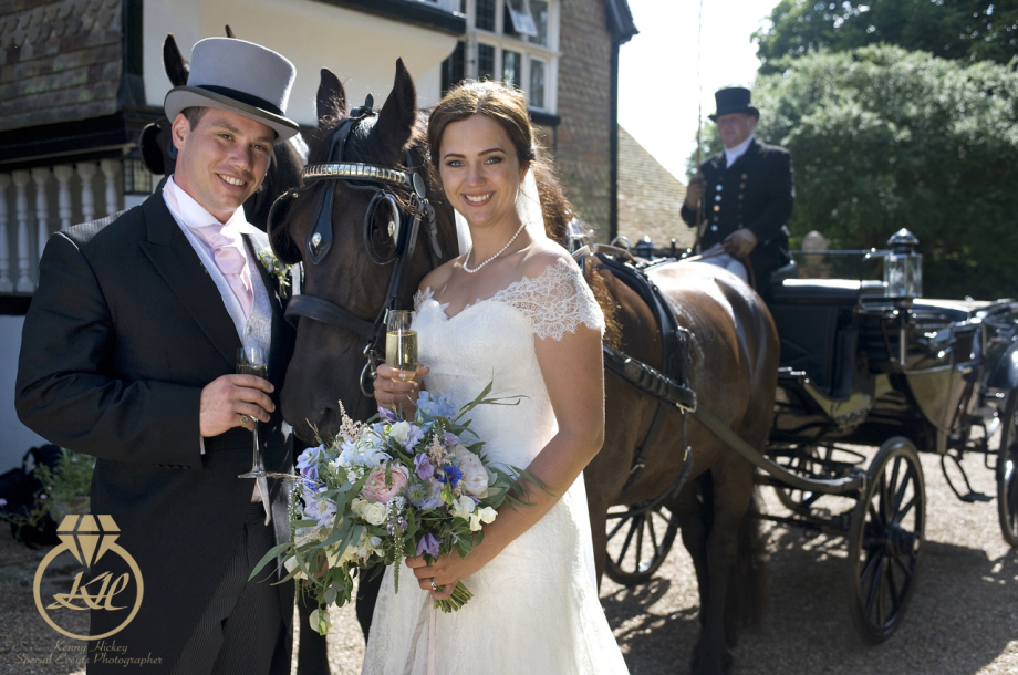 Rachel & Alex horse drawn wedding in Marle Place Kent