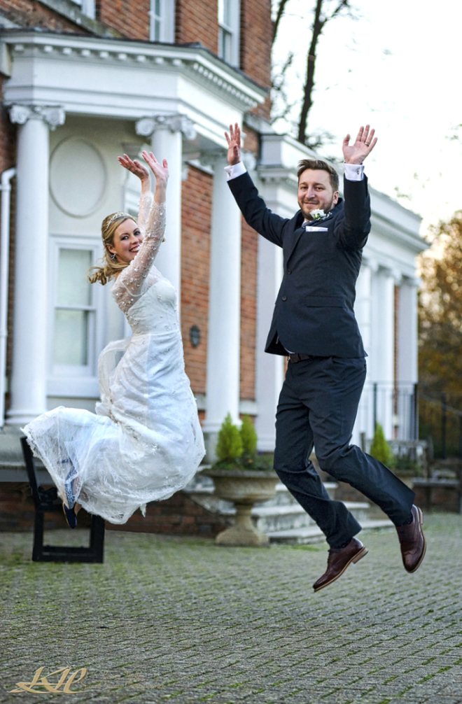 Bride & Groom jumping