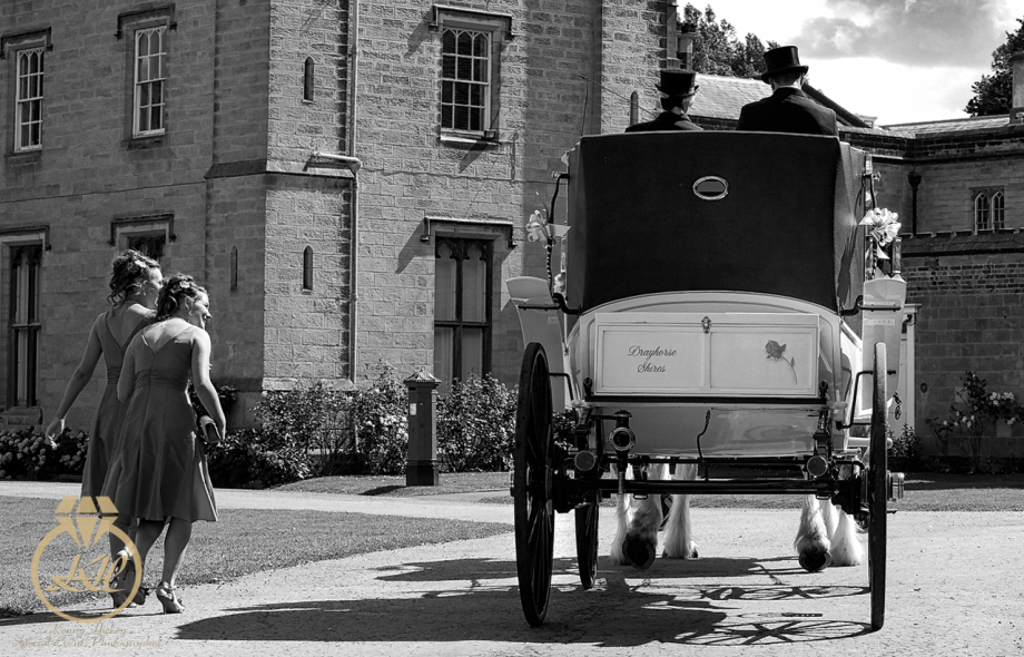 Bridesmaids and Horsedrawn carriage at Chiddingstone Castle