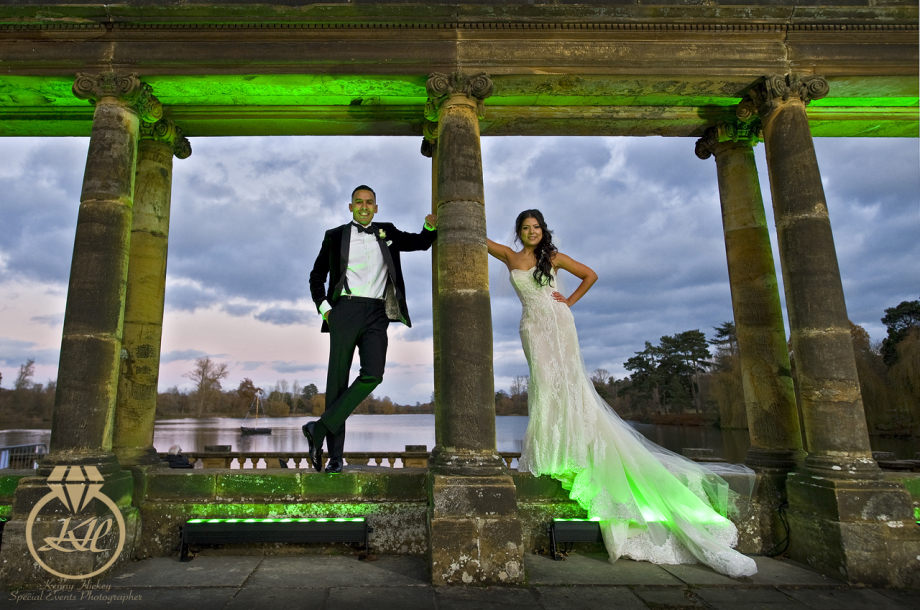 Columbian Bride & Groom on The Loggia at Hever Castle