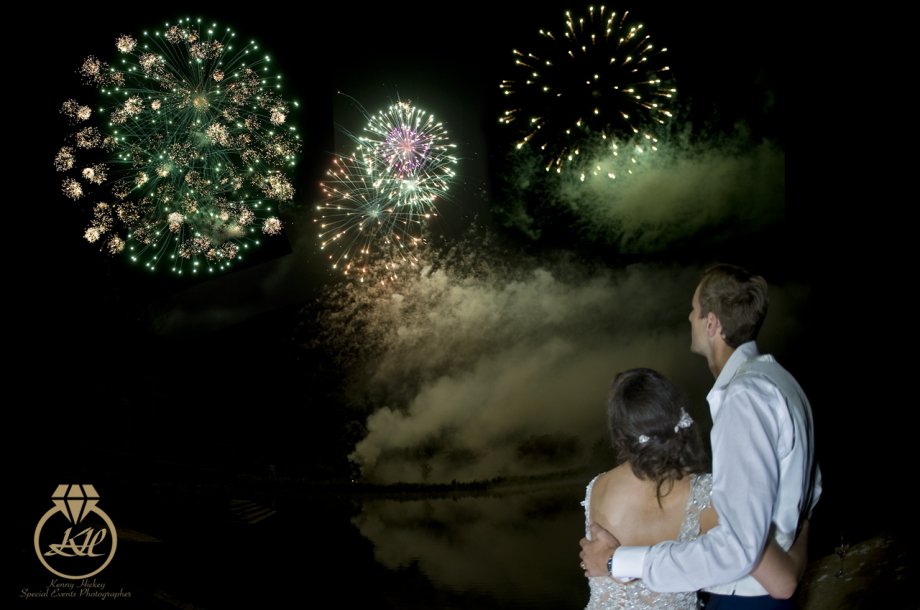 Bride & Groom watching fireworks at Hever Castle