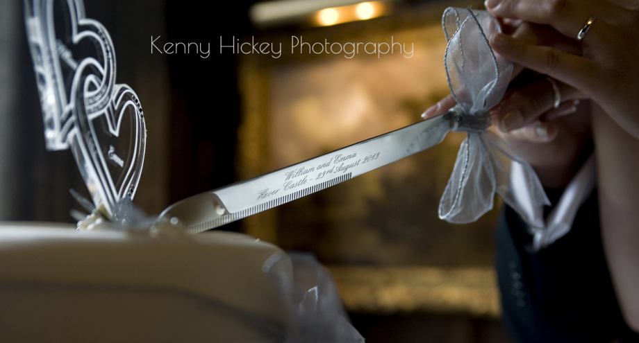 Wedding knife cutting wedding cake Hever Castle