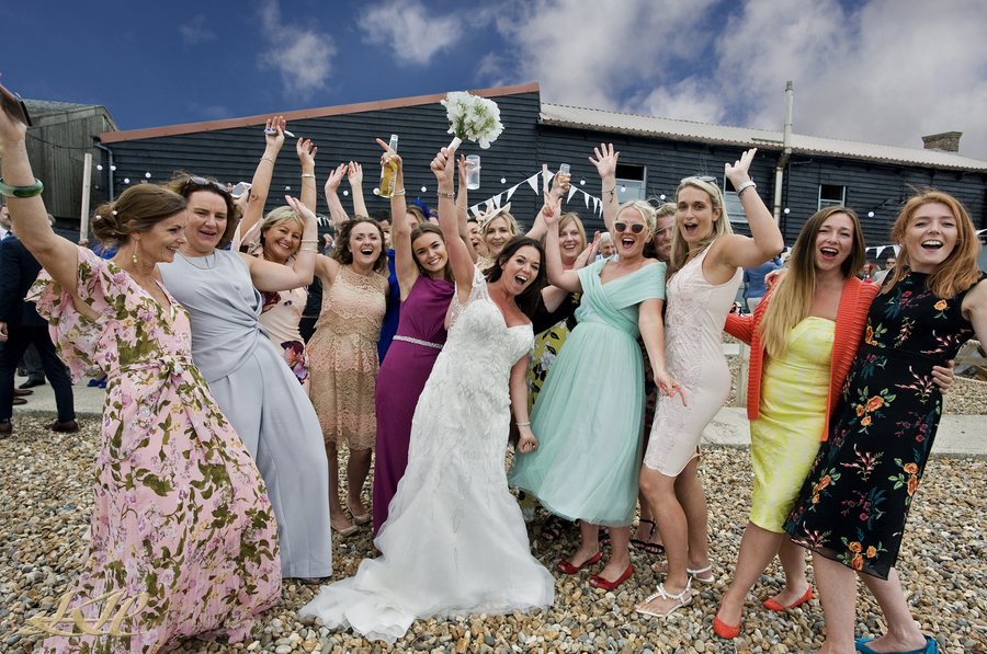 Bride & Hen Party on whitstable beach fun