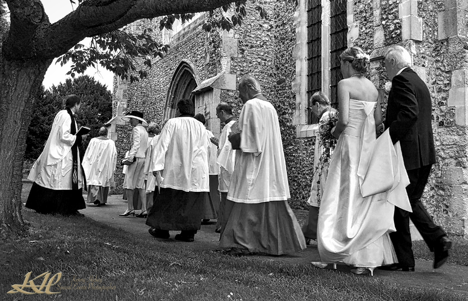 wedding party entering church