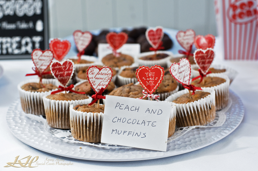 wedding muffins and hand written labels, love hearts